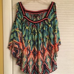 Cold Shoulder Gorgeous Top! Multi-colored - Large